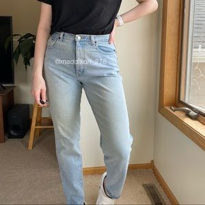 VINTAGE Button Fly High Rise Mom Jeans Light Wash